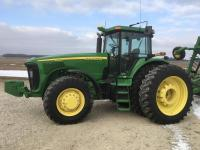 2004 JD 8320, MFWD, 2558 hrs., PS Trans, 3 hyd., 1000 pto, quick hitch, 480/80R46 w/duals, 420/90R30 front tires, S/N 020527