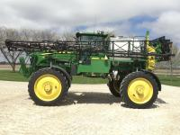 "2009 JD 4830 self-propelled sprayer, 742 hrs., 90' boom, Hi-Flow, nozzles at 15"" centers, auto boom track, fence row nozzle, stainless steel eductor, 3"" fill-front & side, 1000 gal stainless steeltank, deluxe cab, intergrated auto steer, S/N: N04830X003557"