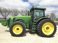 2014 JD 8370R, MFWD, 1917 hrs., IVT, ILS, 6 remotes, 1000 pto, Auto Trac ready, premium cab, CVII, Command Center display, refrigerator, Hi-Flow hyd. pump, rear wts, 480/80R50 Firestone w/duals, 480/70R34 w/duals, ext. warranty power train July 11, 2017, hrs limit 2,000, S/N: 1RW8370REED092423