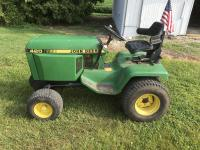 "JD 420 lawn mower, gas, 1207 hrs., 240 hrs. on new motor, power steering, 2 ft hyd., 60"""" deck"